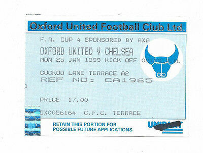 Ticket 1998/99 FA Cup - OXFORD UNITED v. CHELSEA