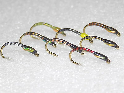Buzzers Flies 8 New Assorted Patterns Tied On Size 10 Hooks ***