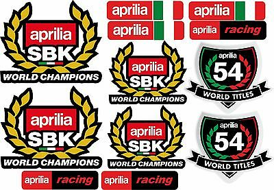 Kit 12 Adesivi Aprilia Racing World Champions World Titles Moto Stickers Cod25