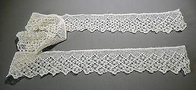 Antique French embroidered crochet ribbon trim edging hand made white 71 lenght