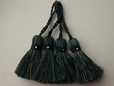 4 Dark Blue Coloured Tassels