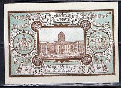 1892 Liverpool Post Office Xmas Card Postal Museum Postcard From Collection B9