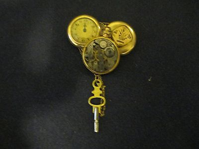 Steampunk jewelry pin, antique gold filled watch