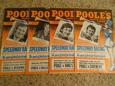POOLE SPEEDWAY PROGRAMMES (x5) (1973) - LISTED