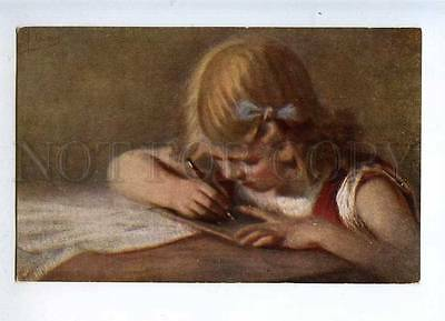 232483 Girl writting Letter by LUBBES vintage Russian color PC