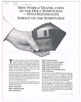 Watch Tower - Instructions for diskettes of NW Translation and Insight book