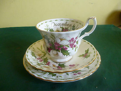 Royal Albert Flowers Of The Month December Xmas Rose Tea Cup Saucer Side Plate