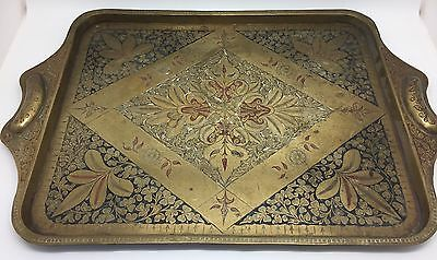 Elaborate Vintage Hand-Tooled Brass Persian Tray with Handles (RF571)