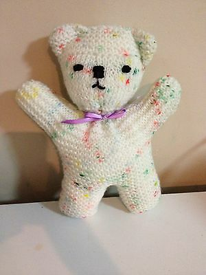 Knitted Teddy Bear - Multi-coloured With Purple Ribbon Bow