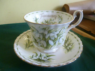 Royal Albert Flowers Of The Month January Snowdrop Tea Cup And Saucer