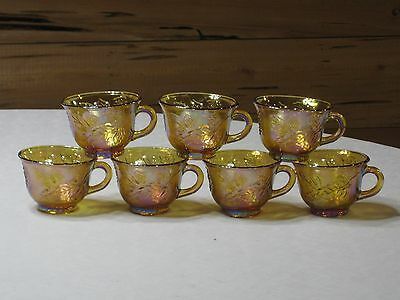 Vintage Indiana Gold Carnival Glass Set of 7 Punch Cups
