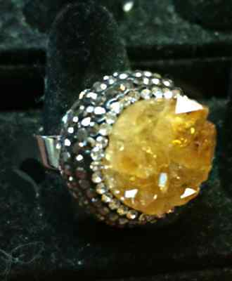Citrine Cluster Healing Stone Crystal Ring