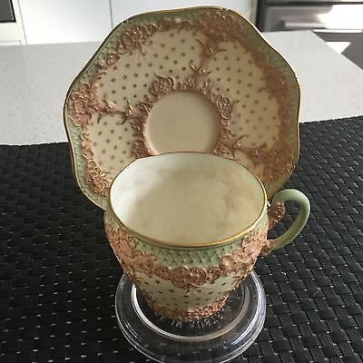 Royal Worcester Cup And Saucer Rare Antique Raised Pattern England 1933