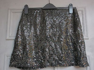 "Vintage 90's sequin silver skirt size 14 28"" waist"