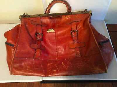 Vintage Leather Doctors Medical Bag With Brass Fittings