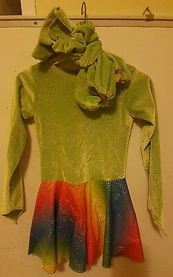 Rainbow Green Ice Skating Dress With Matching Boot Covers And Scrunchie