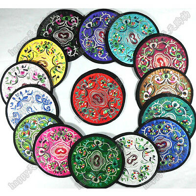 Wholesale6pair/12pcs Chinese Handmade Silk Embroidered  Cup Mat Pad Coaster