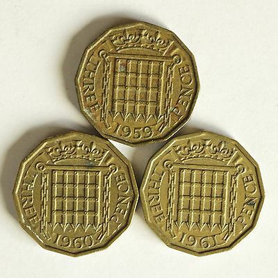 Three Elizabeth II brass THREE-PENCE coins dated 1959 to 1961