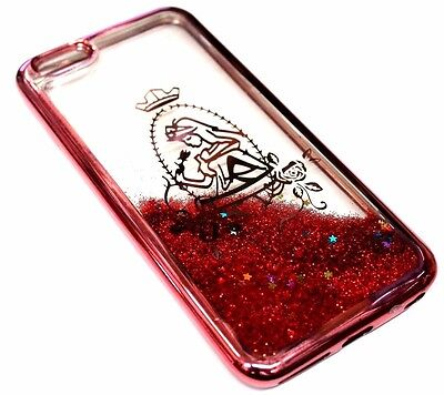 For iPhone 6 6S - Rose Gold Princess Glitter Stars Sparkle Liquid Waterfall Case