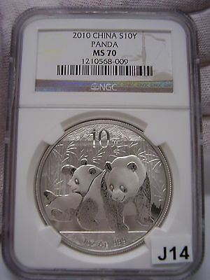 "2010 China Silver Panda NGC MS-70 Gold Label ""Very Low POP of #2236"""