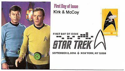 Star Trek,2016 stamp,Captain Kirk & Dr McCoy by ROMP cachets,first day of issue
