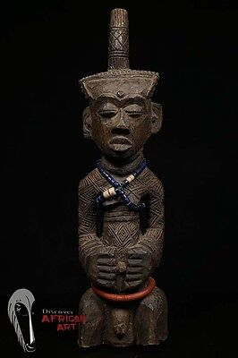 Discover African Art Finely Carved Dengese Male Statue with Horn