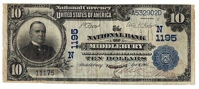 1902 $10 National - National Bank of Middlebury, VT Ch.1195 - BEST OFFER!