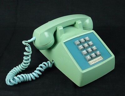 VTG Light Blue Touch Tone Phone Bell System Western Electric 2500D Dated 8-72