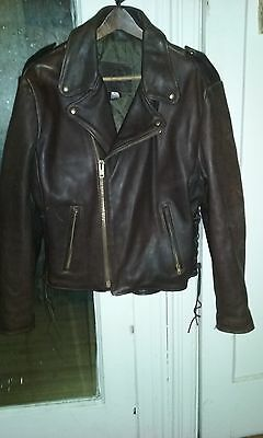 vtg mens KERR Brown Heavy Leather MOTORCYCLE BIKER jacket  SIZE 44  Made in USA