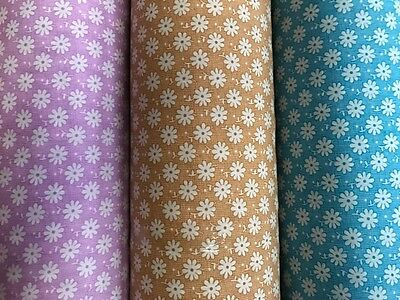 Daisy Printed PolyCotton Fabric - Floral Craft Kids 112cm Wide