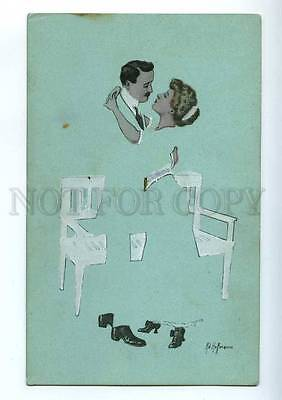 215325 KISS Lovers in Blue by Ad HOFFMANN vintage ART NOUVEAU