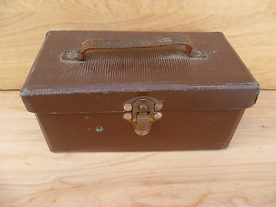 Vintage Old Brown Small Size Suitcase, Box (A80)