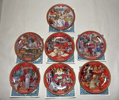 Lot Of 7 Coca Cola Days Collectible Calender Plate The Bradford Exchange