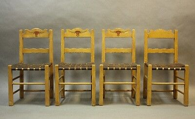 Set of 4 1930s Monterey Period Side Chairs Hand Painted Bull Motif Seat (9908)