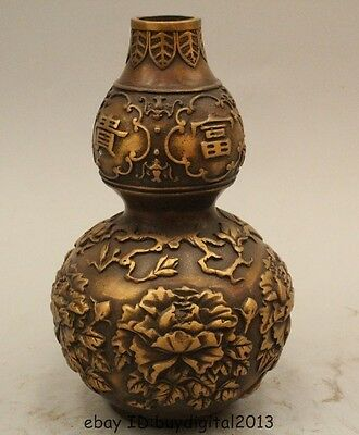 """7"""" Chinese religion Home house Brass Fengshui flower cucurbit calabash Statue"""