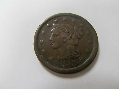 1853 BRAIDED HAIR LARGE CENT 1c 164 YEARS OLD