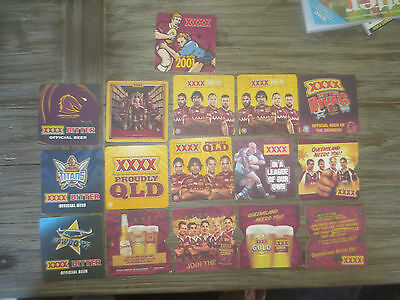 16 Different CASTLEMAINE XXXX BREWERY,/ RUGBY Issue collectable COASTERS