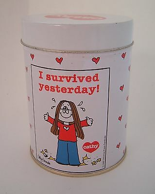 """Vintage Cathy Guisewite Comic Tin Box Tin 1982 hearts """"I survived yesterday"""""""
