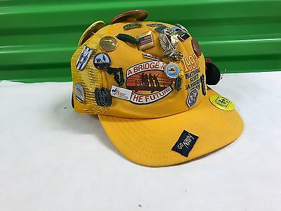 Vintage Yellow Boy Scout Hat With Pins 1993 National Scout Jamboree Staff