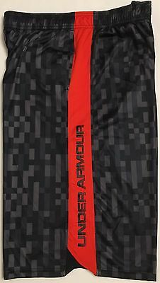 NWT youth Boys' YXL X-large UNDER ARMOUR shorts all season loose fit Red/Black