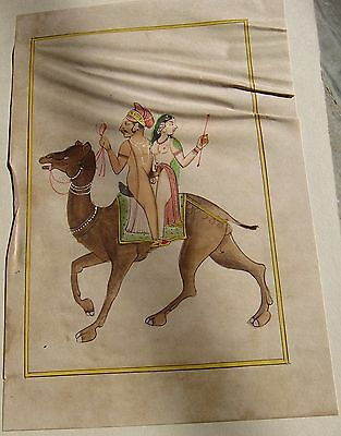 Mughal Rajputi  Couple On Camel Water Color Painting India