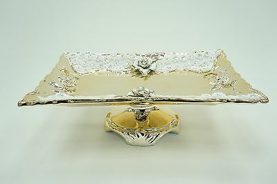 Gold Floral Embellished Decorative Ceramic Tray With Stand