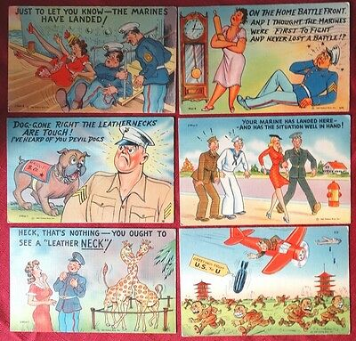 6 pc Lot WWII Humor Postcard US Marines Anti Axis