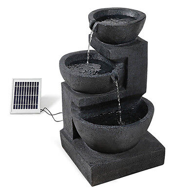 Solar Powered Three Tier Cascading Water Fountain W/ LED Lights Blue