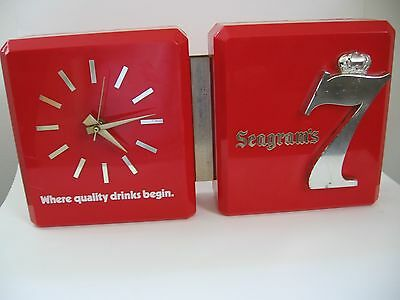 Rare Vintage Seagram's 7 Clock --Good Working Condition