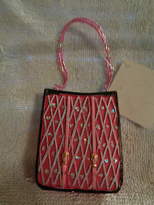 Gorgeous Pink Carry Bag  Purse Christmas Ornament - Nwt