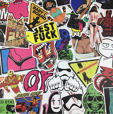 800PCS/Lot  Random Skateboard Stickers Luggage Car Laptop Decals bomb Vinyl Mix