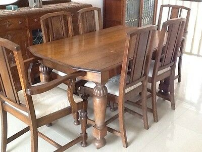 Jacobean Oak Dining Suite 6 Chairs Including 2 Carvers.