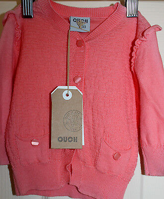 New with Tags Baby Girls 'OUCH' tangerine CARDIGAN/jumper size 00  NEW