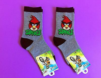 2 Pairs Angry Birds Space Boys Girls Kids Birthday Party Socks Size 5-8